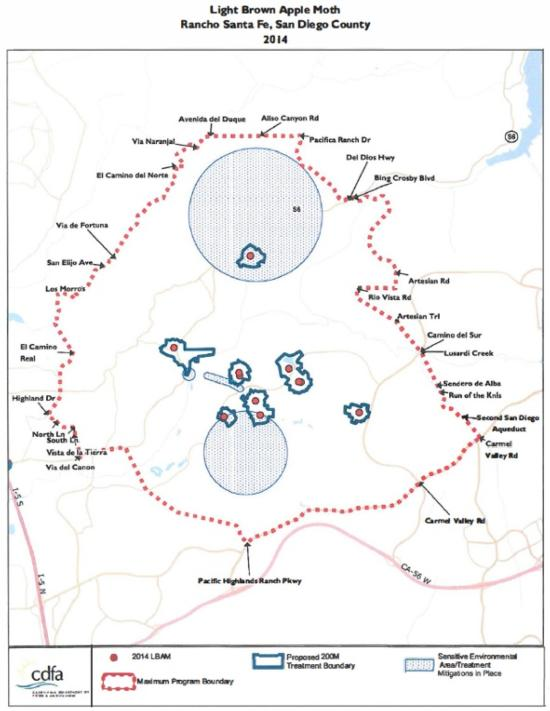Fig. 2. New LBAM quarantine in the Rancho Santa Fe area. Much of the area is ecologically sensitive and requires special mitigation. Source: CDFA.