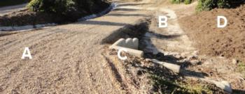 Fig. 1. Paving dirt access roads with gravel (A) reduces dust and soil loss. Concrete drainage (B) allows sediment in runoff water to settle out so th